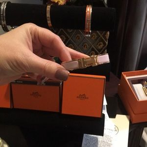 Hermes H clic rose gold pink bracelet